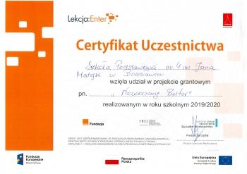 Certyfikat LekcjaEnter 2020