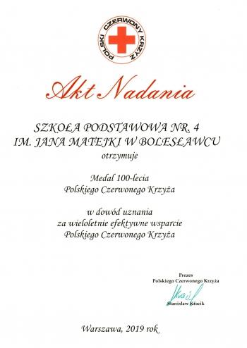 Akt nadania Medal 100 lecia Polskiego Czerwonego Krzyża 2019