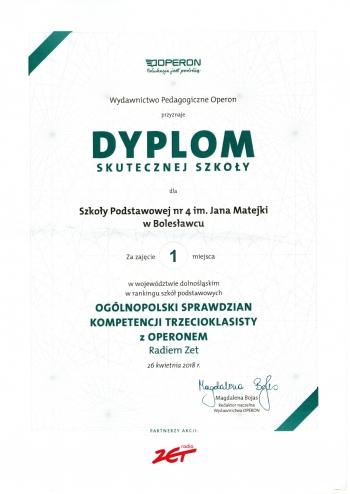 Dyplom Ogólnopolski sprawdzian kompetencji trzecioklasisty 2018