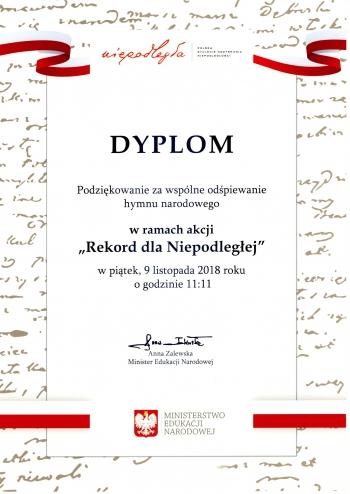 Dyplom Rekord dla Niepodległej 2018