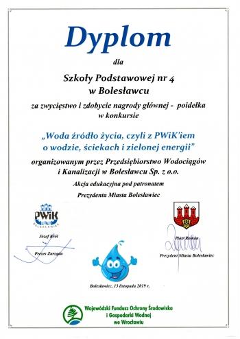 Dyplom Woda źródło życia 2019