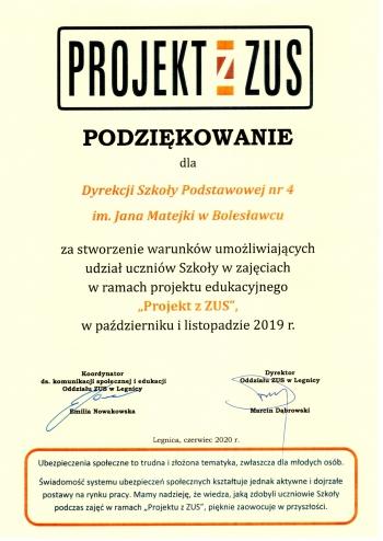 Podziękowanie Projekt z ZUS 2019