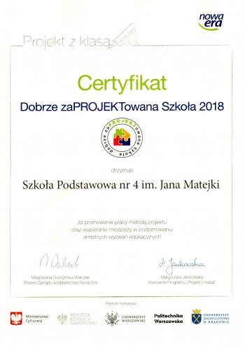 Certyfikat Dobrze zaPROJEKTowana Szkoła 2018