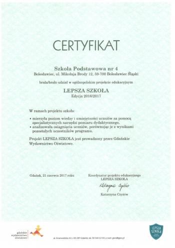 Certyfikat Lepsza Szkoła 2017