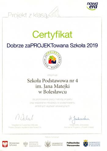 Certyfikat Dobrze zaPROJEKTowana Szkoła 2019