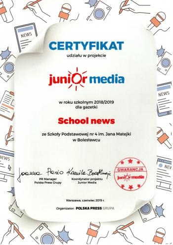 Certyfikat Junior Media 2019