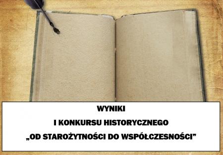Wyniki I Konkursu Historycznego - etap szkolny