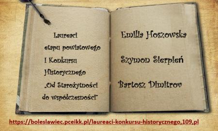 Laureaci etapu powiatowego  I Konkursu Historycznego